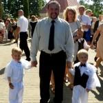 Laimonas ir Karolis su tėte